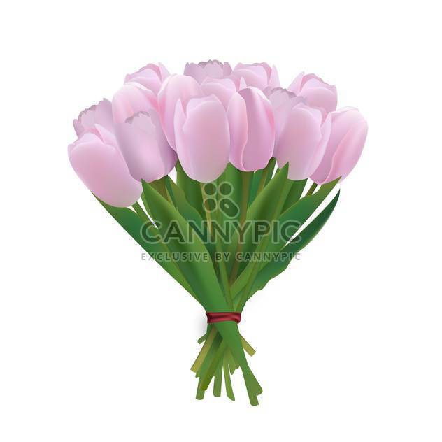 vector bouquet of pink tulips - Free vector #134816