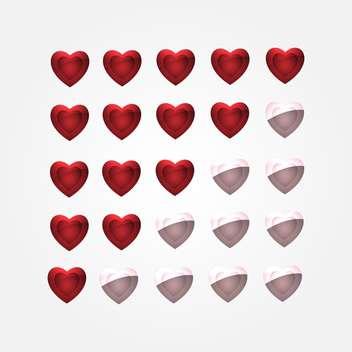vector set of glossy shiny hearts - vector gratuit #134846