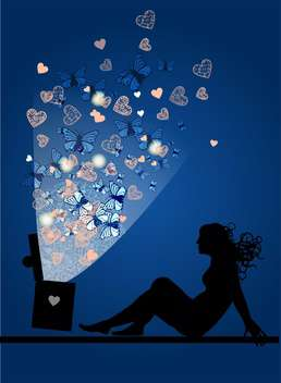 silhouette of woman with magic box - vector gratuit #134916
