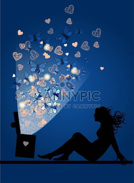 silhouette of woman with magic box - Free vector #134916