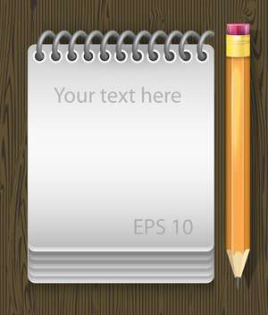 vector illustration of notepad with pencil - vector #134936 gratis