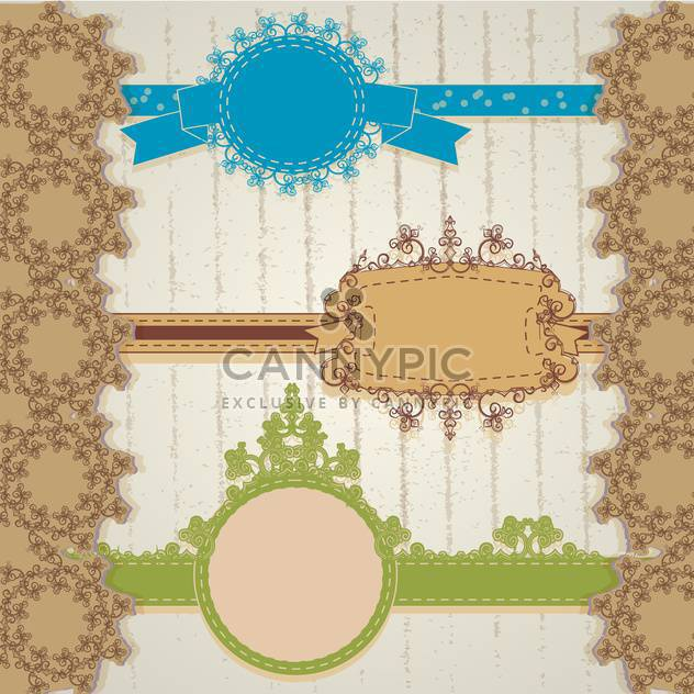 vintage floral frame vector illustration - Free vector #134976