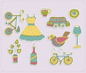 retro travel set with summer items - vector gratuit #135006
