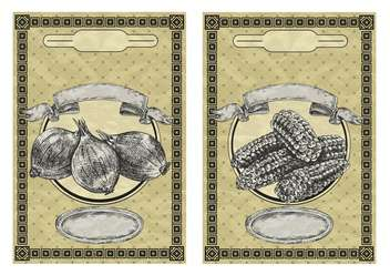 vintage banners with onion and corn - vector gratuit(e) #135076