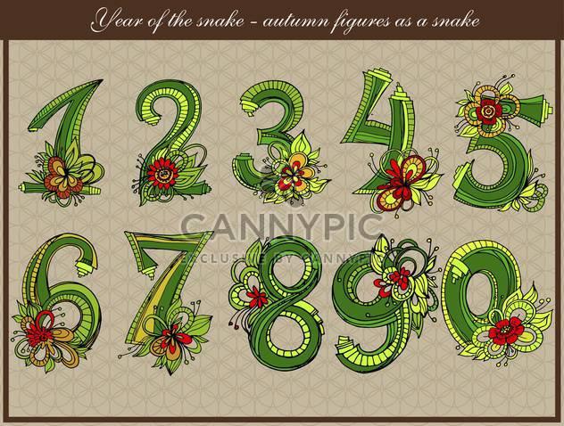 Vektor-Schlange gestaltet Satz Zahlen - Kostenloses vector #135106
