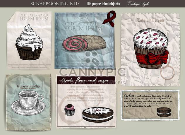 coffee and cake set on old paper - Free vector #135116