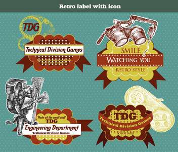 vector retro label with icon - vector gratuit #135136