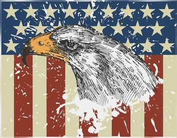 eagle bird on usa american flag background - vector gratuit #135146