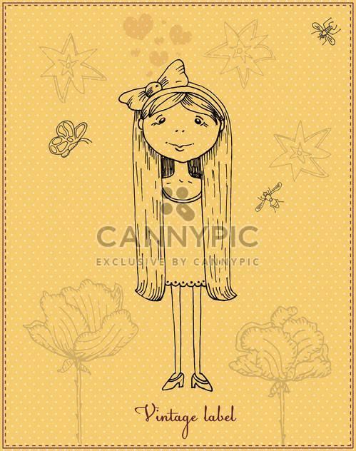 cute cartoon romantic girl vector - Free vector #135216