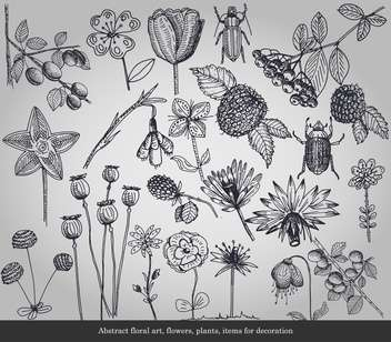 Abstract flowers, plants, items for decoration - Kostenloses vector #135296