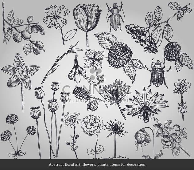 Abstract flowers, plants, items for decoration - Free vector #135296