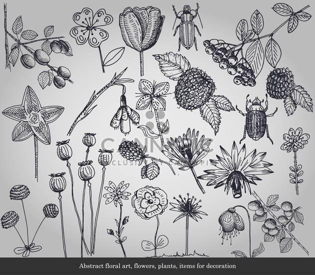 Abstrakt blumen, Pflanzen, Elemente für die Dekoration - Kostenloses vector #135296