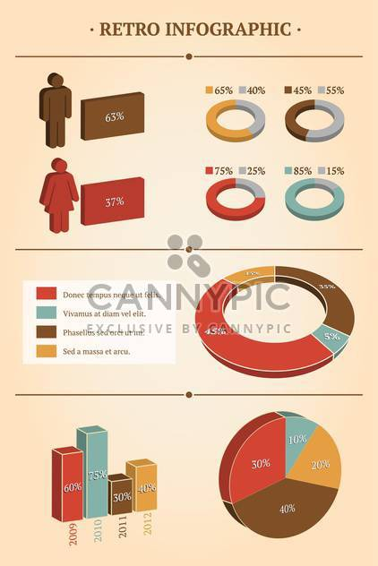 Vector illustration of retro business infographic set with pie demographics - Free vector #125726