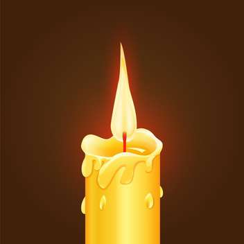 Vector illustration of yellow burning candle on brown background - Free vector #125736