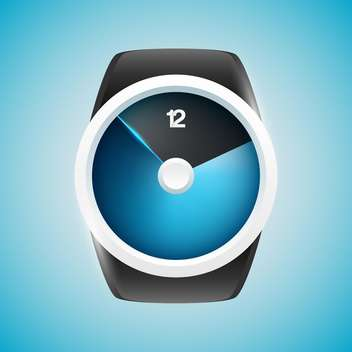 Vector illustration of modern men wristwatch on blue background - vector gratuit #125756