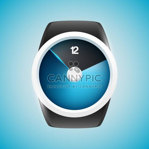 Vector illustration of modern men wristwatch on blue background - Free vector #125756