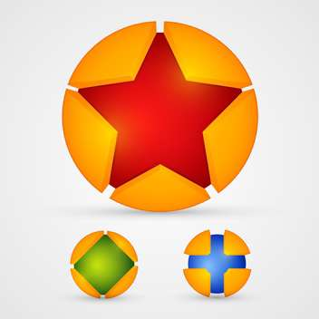 Vector illustration of three different colorful buttons on white background - Free vector #125766