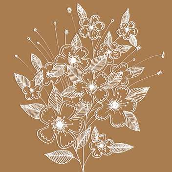 Vector floral background with decoration white flowers on brown background - vector gratuit #125786
