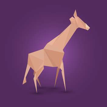 Vector illustration of paper origami giraffe on purple background - Free vector #125796