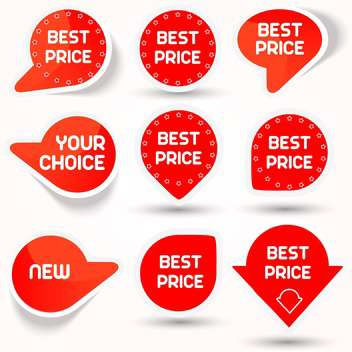 Vector illustration of icon set with red color best price buttons on white background - Kostenloses vector #125806