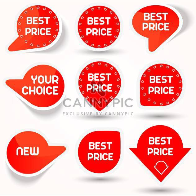 Vector illustration of icon set with red color best price buttons on white background - Free vector #125806