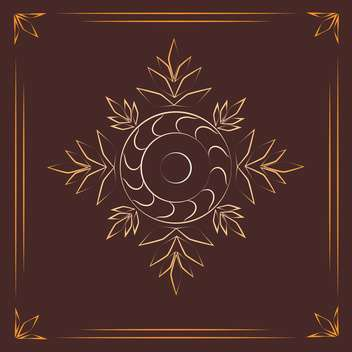 Vintage background with golden floral elements on brown background - vector gratuit #125856