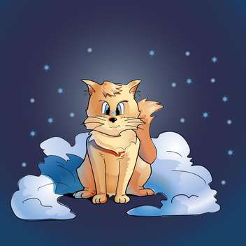 colorful illustration of fluffy cat sitting in snow on blue background with stars - бесплатный vector #125896