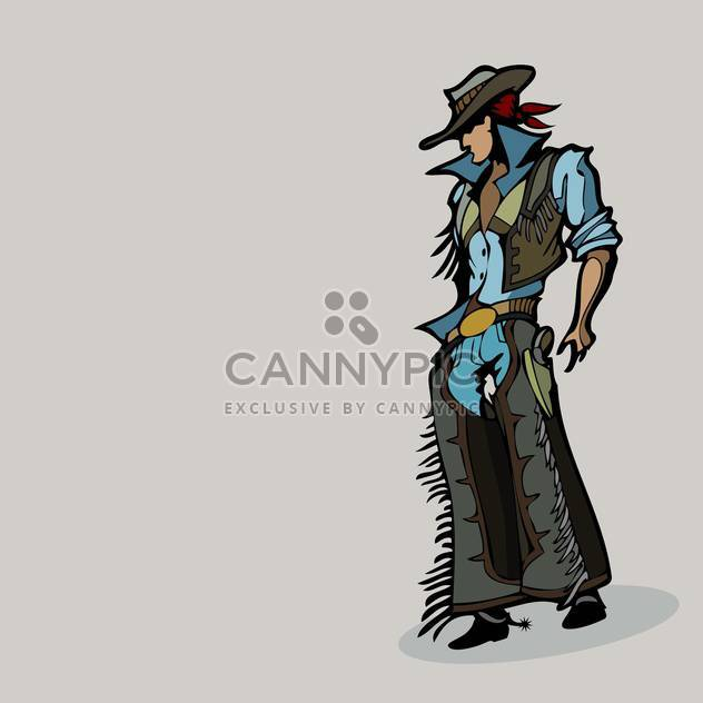 Vector illustration of cartoon western cowboy in hat on grey background - Free vector #125906