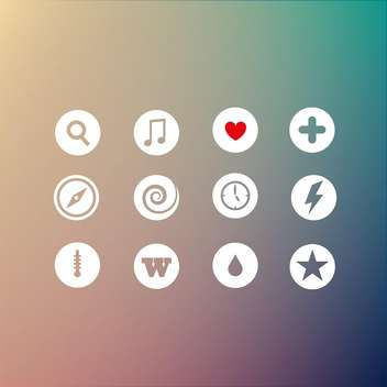 Vector set of different round web icons - vector gratuit #125936