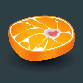 Orange with meat structure and heart shape bone on grey background - vector gratuit #125986