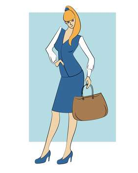 Vector illustration of cartoon businesswoman with handbag - Free vector #126016