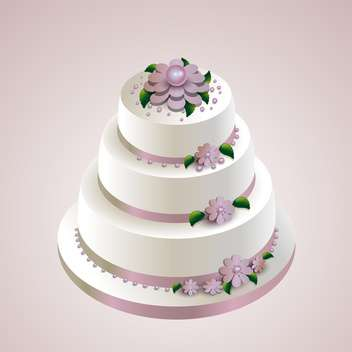 Vector illustration of wedding cake with flowers on pink background - бесплатный vector #126086
