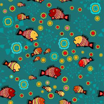 colorful illustration of folk background with colorful fish and flowers - vector gratuit #126096