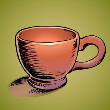 Vector illustration of empty brown cup on green background - Free vector #126106