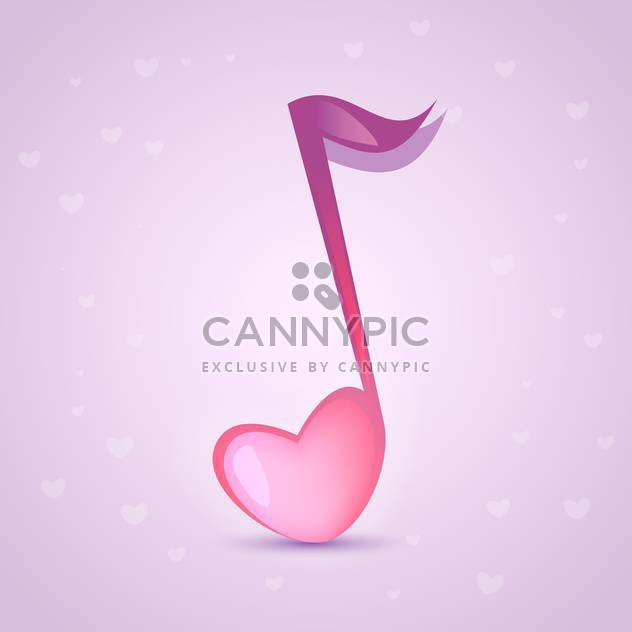 colorful illustration of musical heart shape love key on pink background - Free vector #126146