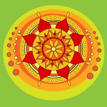 Vector folk background with floral mandala symbol on green background - vector gratuit #126156