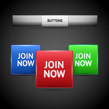 Vector illustration of join now button collection on dark background - Free vector #126166