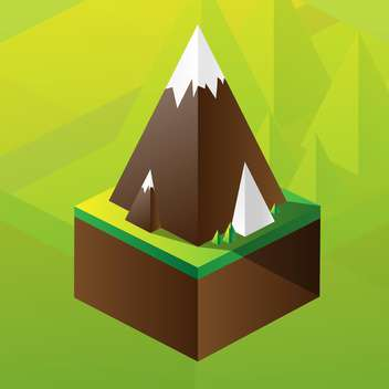 Vector illustration of square maquette of mountains on colorful background - vector gratuit #126186