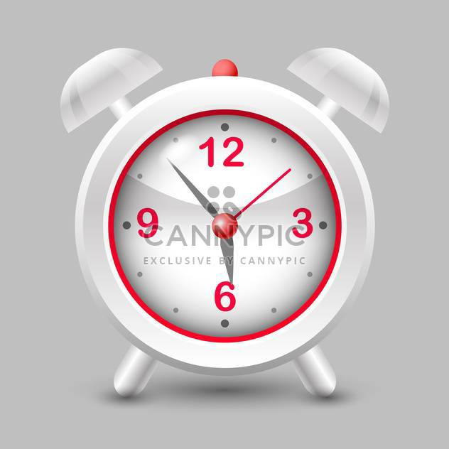 Vector illustration of grey and red alarm clock on grey background - Free vector #126196