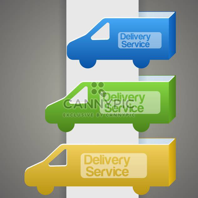 Vector illustration of colorful delivery trucks with delivery signs - Free vector #126206