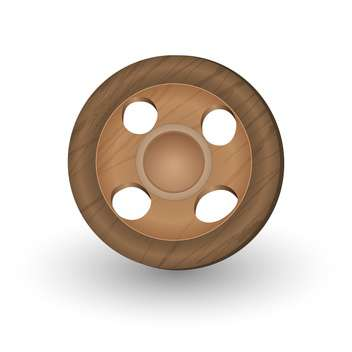 Vector illustration of sewing brown wooden button on white background - Free vector #126226