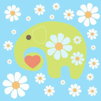 Vector colorful background with yellow elephant and flowers on blue background - Free vector #126236