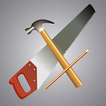 Vector illustration of work tools on grey background - Free vector #126316