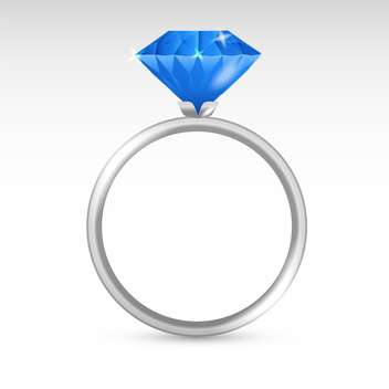 Vector silver ring with blue diamond on white background - vector gratuit #126356