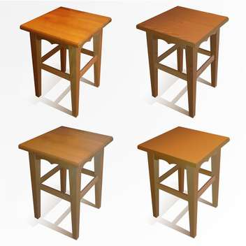 Vector set of wooden brown chairs on white background - vector gratuit #126366