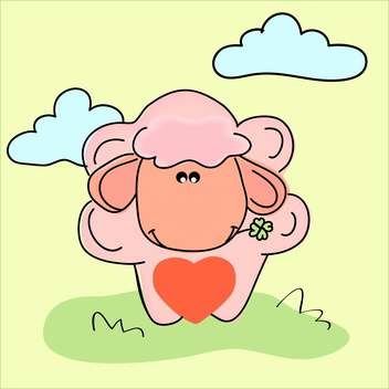 Vector illustration of cartoon colorful sheep with red heart - vector gratuit #126396
