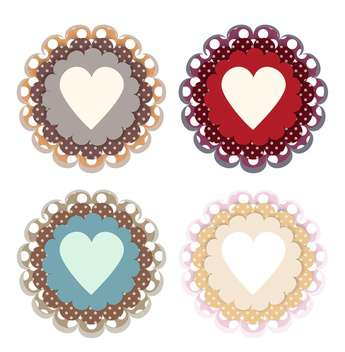 Vector set of colored hearts on white background - Free vector #126456