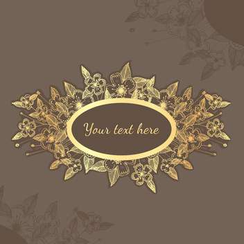 Vector background with gold flowers and text place - vector #126466 gratis
