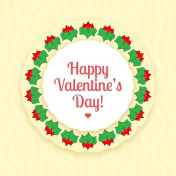 Vector card for valentine card of red flowers with green leaves - vector gratuit #126486
