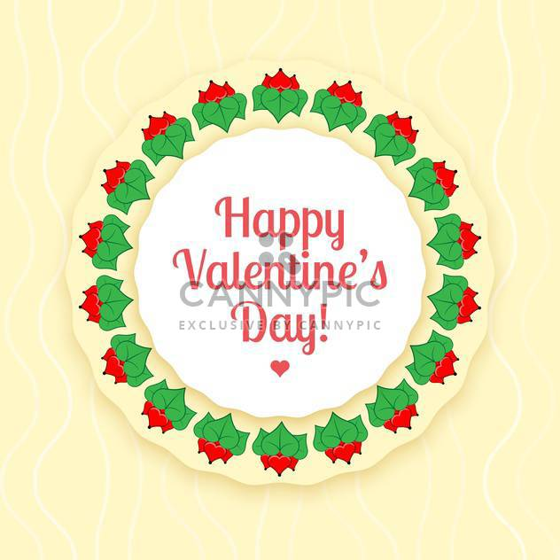Vector card for valentine card of red flowers with green leaves - Free vector #126486
